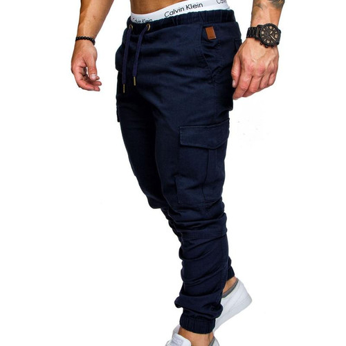 Brand Male New Fashion 2019  Slim Solid Colour Pocket Decoration Men Casual Pants Man Trousers Designer Men's Joggers - Joelinks store