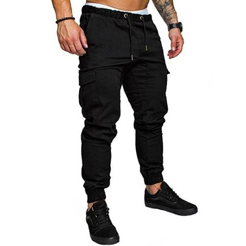 Men's Multi-pocket Cargo Pants Elastic Waist Hip Hop  Fitness Pants Solid Colour Casual Trousers - Joelinks store