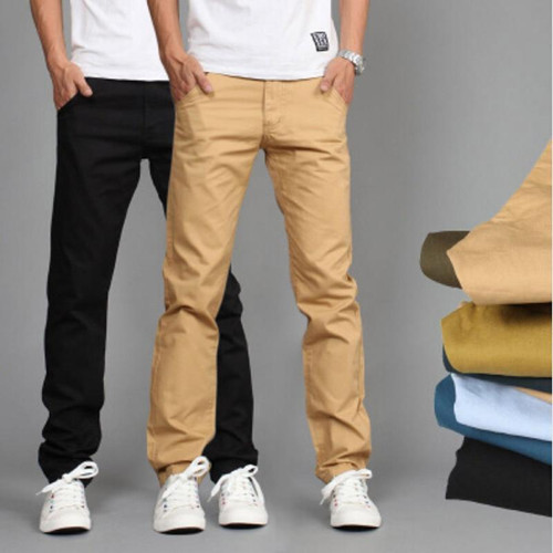 RUBU New Design Casual Men pants Cotton Slim Pant Straight Trousers Fashion Business Solid Khaki Black Pants Men 28-38 - Joelinks store