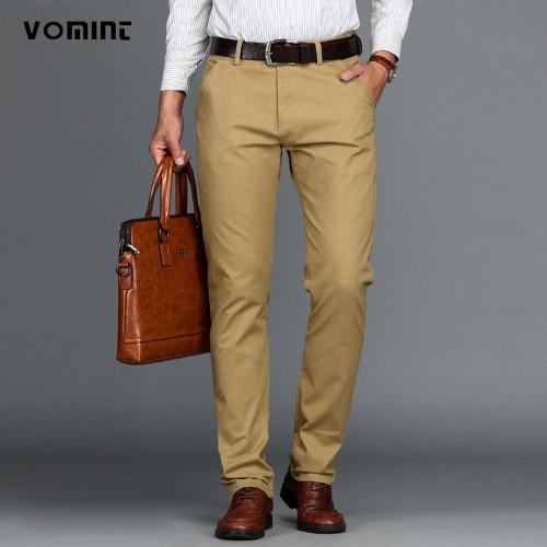 VOMINT Mens Pants High Quality Cotton Casual Pants Stretch male trousers man long Straight 4 color Plus size pant suit - Joelinks store