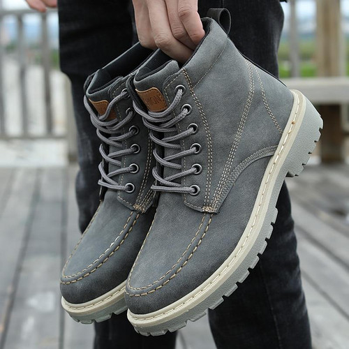 shoes mens Retro Ankle Boots Motorcycle Biker Ankle Boots Autumn Winter Faux Suede Lace Up High Top Boot Comfort Shoes - Joelinks store