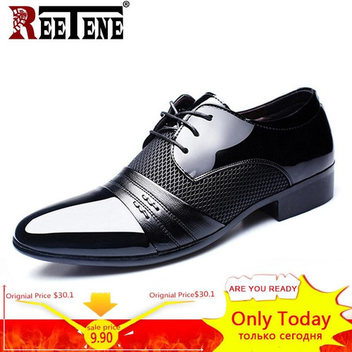 REETENE Men'S Dress Shoes Fashion Pu Leather Shoes Men Brands Wedding Oxford Shoes for Men'S Breathable Men Formal Footwear - Joelinks store