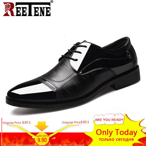 REETENE 2018 Formal Shoes Men Pointed Toe Men Dress Shoes Leather Men Oxford Formal Shoes For Men Fashion Dress Footwear 38-48 - Joelinks store