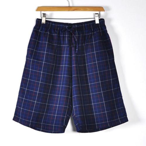 Causal 100% Cotton Men Soft Sweatpants Sleep Bottoms Shorts Wear Knit Summer Lounge Sleepwear Plaid Pajamas Size M-2XL - Joelinks store