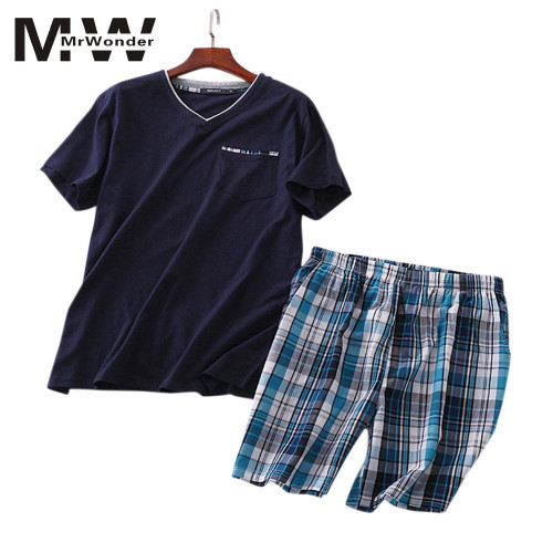 Summer New Men's Pajamas Suit Cotton Short-sleeved Knitted Cotton Shorts Casual Increase Size Home Service Pajamas SAN0 - Joelinks store