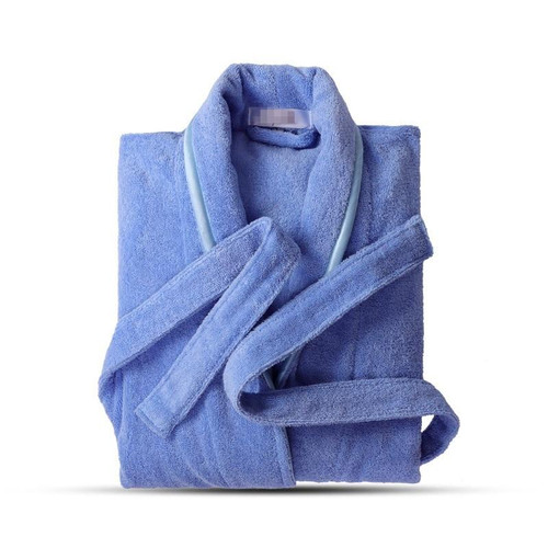 Terry Robe Pure Cotton Bathrobe Lovers Blue Robes Men Bathrobe Women Solid Towel Long Robe Sleepwear Plus Size XXL - Joelinks store