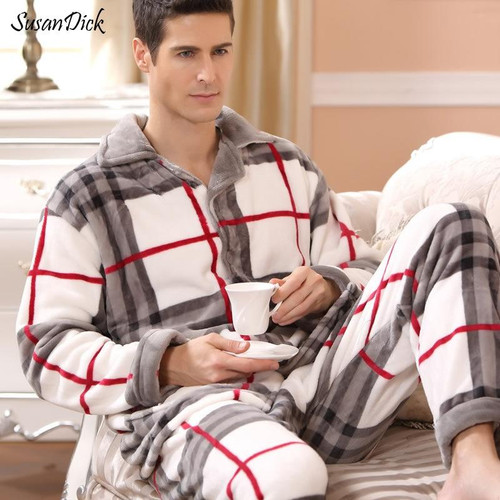 New Winter Pajamas Men Thick Fleece Pajama Sets Luxury Warm Sleepwear Plaid Suits Man Casual Home Clothes Pijama - Joelinks store
