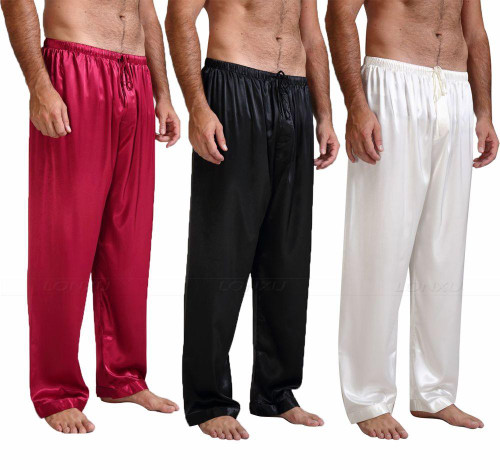 Mens Silk Satin Pajamas Pyjamas Pants Lounge Pants  Sleep Bottoms Free p&p S~4XL Plus - Joelinks store