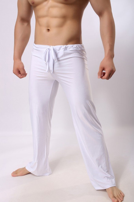 Mens Pants Mens Sleep Bottoms Viscose Home Pants Loose Sexy Mens Lounge Pants Milk Silk Fashion Strap Sexy Male Pajamas - Joelinks store