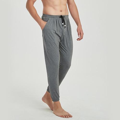 Spring Summer Fall Thin Soft Modal Cotton Lounge Pants Nightwear Mens Pajamas Loose Breathable Elastic Home Men Sleep Bottoms - Joelinks store
