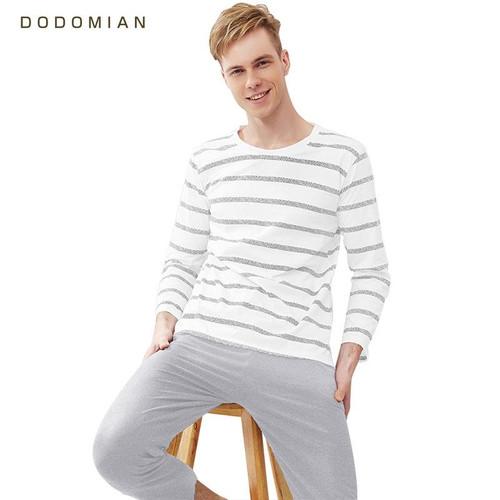 Men Pajama Cotton Gray Striped O-neck Sleepwear Men DODOMIAN Home Clothes Plus Size L-3XL High Quality Male Underwear Set - Joelinks store
