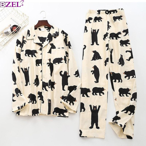 Cute white bear 100% brushed cotton men pajama sets Autumn Casual fashion animal sleepwear men homewear sexy pijamas mujer - Joelinks store