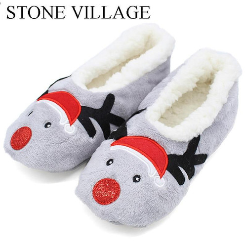 STONE VILLAGE 2018 Cute Cartoon Animation Christmas Gift Home Slippers Super Warm Plush Slippers Cotton Women Slippers Men - Joelinks store