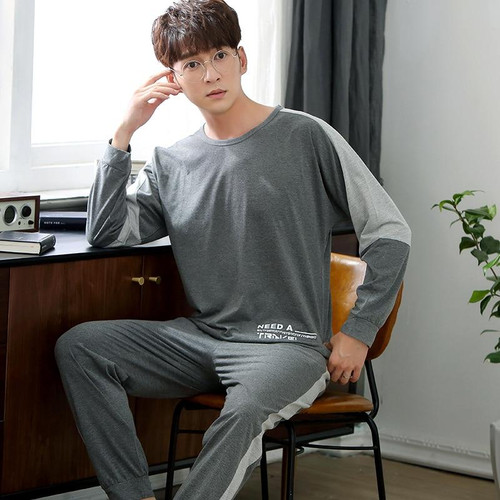 Men Pajama Set Nightwear Autumn Winter Warm Cotton Long-sleeve Male Sleepwear Sets Long Pant Pyjamas Sets Warm Pajamas Men Wear - Joelinks store