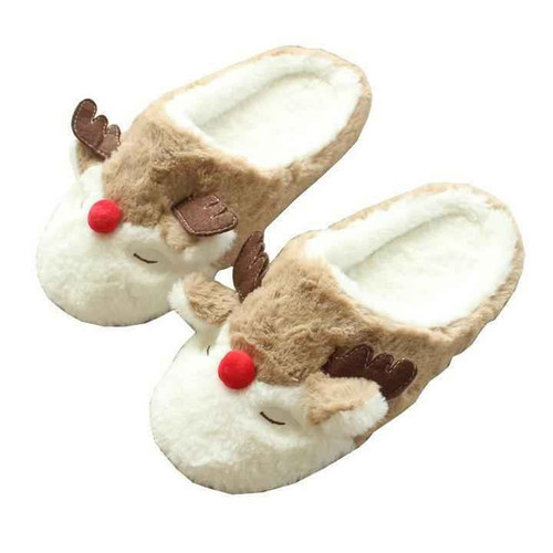 Joelinks store Christmas Slippers For Family Cartoon Reindeer Fluffy Fur Winter Warm Home Bedroom Shoes Anti-skidding Cute Animal Slippers