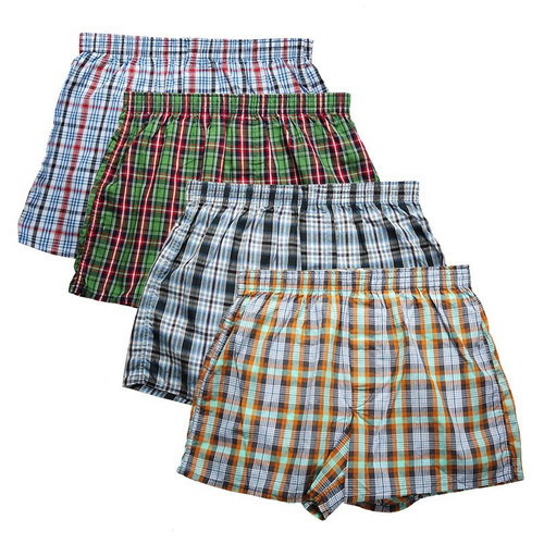 High Quality Brand 4-Pack Men's Boxer Shorts Woven Cotton 100% Classic Plaid Combed Male Underpant Loose Breathable Oversize - Joelinks store