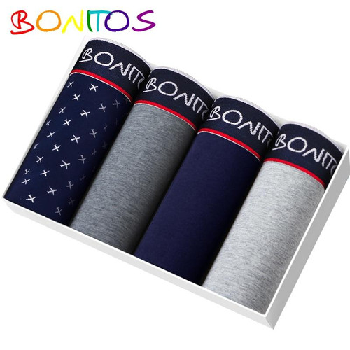 BONITOS Boxer 4pcs/pack Underpants Men Underwear Soft Cotton Calvin Boxer Shorts Sexy under wear Men Panties Calecon Homme Gay - Joelinks store