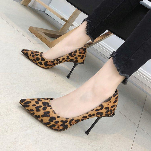 High Quality Suede Leopard Print High HeelsPumps Autumn Spring Pointed Toe Stiletto Women Shoes - Joelinks store
