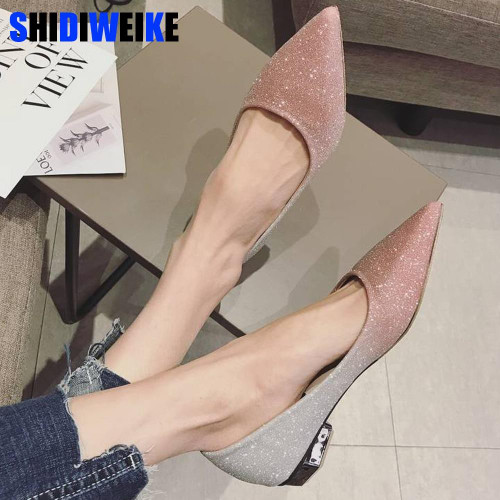Spring Women Shoes Pointed Toe Ballet Flats Fashion Sequined Cloth Slip on Ladies Flat Shoes Zapatos Mujer n551 - Joelinks store