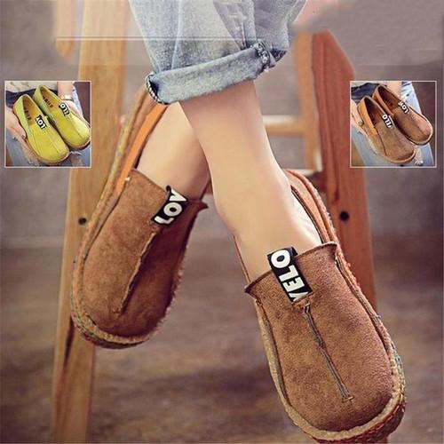 Masorini Flock Flat Shoes Women Round Toe Breathable Ladies Flats Spring Autumn Comfortable Shallow Slip-on Sole Shoes W-510 - Joelinks store