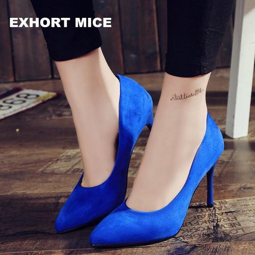 HOT Women Shoes Pointed Toe Pumps Suede Leisure Dress Shoes High Heels Boat Wedding tenis feminino 10cm - Joelinks store