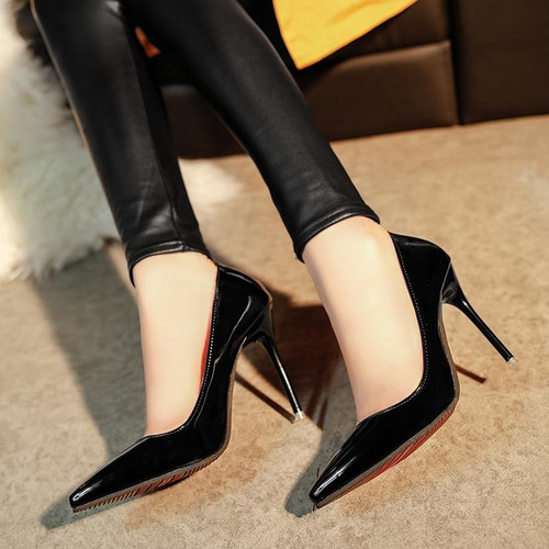 10cm Super High Women Shoes Patent Leather High Heel Spring Summer Pointed Toe Pumps Wedding Shoes Women Pink Black Red White - Joelinks store