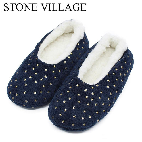 STONE VILLAGE Plush Size 35-41 Bling Winter Warm Cotton Plush Slippers Soft Home Slippers  Indoor Christmas Slippers Shoes - Joelinks store