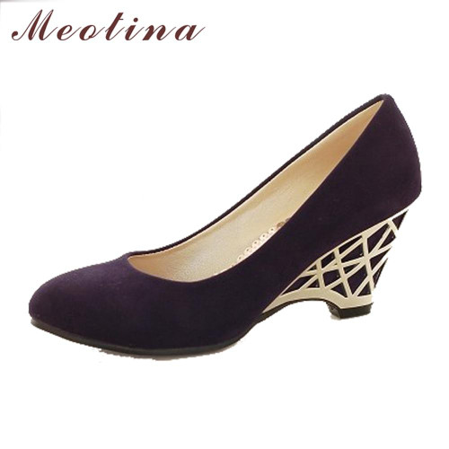 Meotina Women Shoes Wedge Heels Pumps Gold High Heels Office Ladies Shoes Round Toe Red Pumps Autumn Shoes Purple Size 34-39 - Joelinks store
