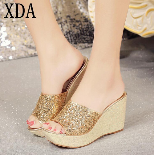 Summer Platform slipper Women Shoes summer Beach Sandals Perspiration Breathable sequin wedge casual Slippers W394 - Joelinks store