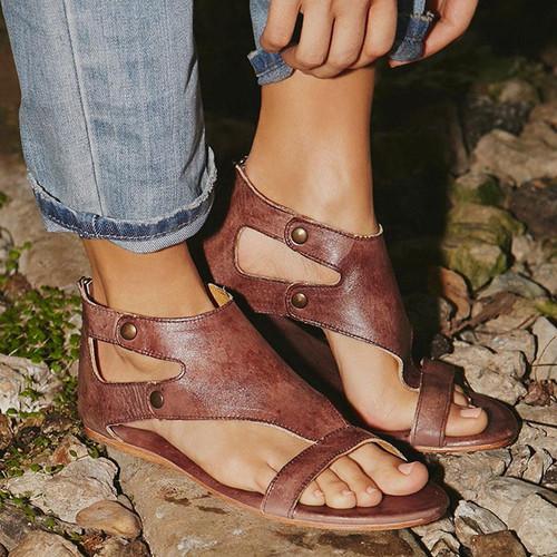Women Sandals Soft Leather Gladiator Sandals Women Casual Summer Shoes Female Flat Sandals Zip Plus Size 35-43 Beach Shoes Women - Joelinks store