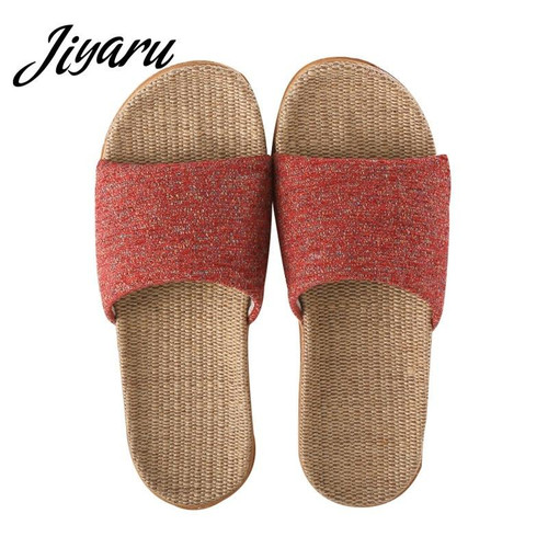 Slippers Women Linen Shoes Autumn Home Non-slip Slippers Female Outside Beach Slippers Ladies Girls Flat Shoes - Joelinks store