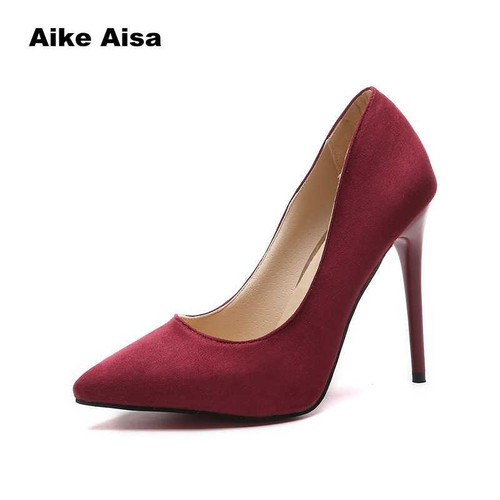 Plus Size 44 Pumps Women Shoes Red Flock Slip-On Shallow Wedding Party Pointed Toe High Heels Pump Chaussures Femme 2019 - Joelinks store