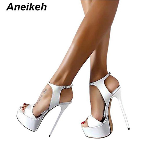 Aneikeh Big Shoe Size 41 42 43 44 45 46 High Heels Sandals Summer Sexy Open Toe Party Dress 16CM Platform Gladiator Women Shoes - Joelinks store