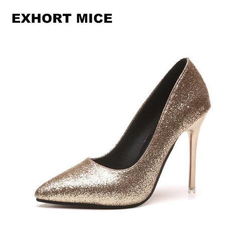 HOT Spring Autumn Women Pumps Sexy Gold Silver High Heels Shoes Fashion Pointed Toe Wedding Shoes Party Women Shoes D-81 - Joelinks store