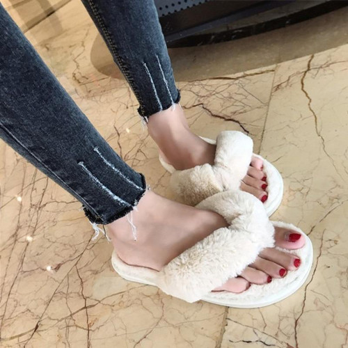 COOTELILI Winter Fashion Women Home Slippers Faux Fur Warm Shoes Woman Slip on Flats Female Fur Flip Flops Pink Plus - Joelinks store