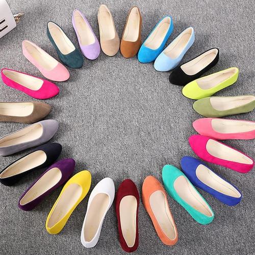 Plus Size Women Flats Slip on Flat Shoes Candy Color Woman Boat Shoes Black Loafers Faux Suede Ladies Ballet Flats 6952 - Joelinks store