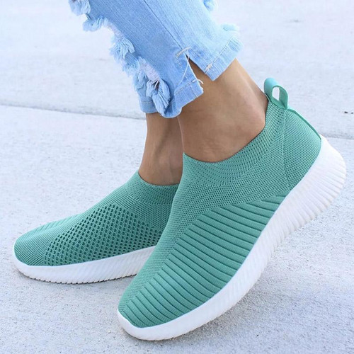 Women Knitting Slip On Autumn Flat Loafers Lady Plus Size Comfort Breathable Mesh Sneaker Walking Shoes Female Fashion Footwear - Joelinks store