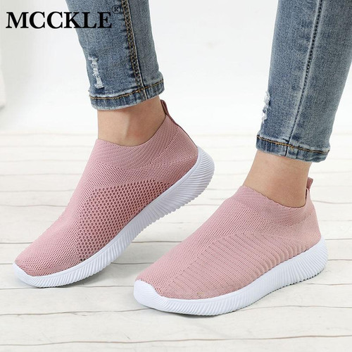 MCCKLE Women Plus Size  Casual Knitting Sock Sneakers Stretch Flat Platform Fashion Ladies Slip On Shoes Footwear Drop Shipping - Joelinks store