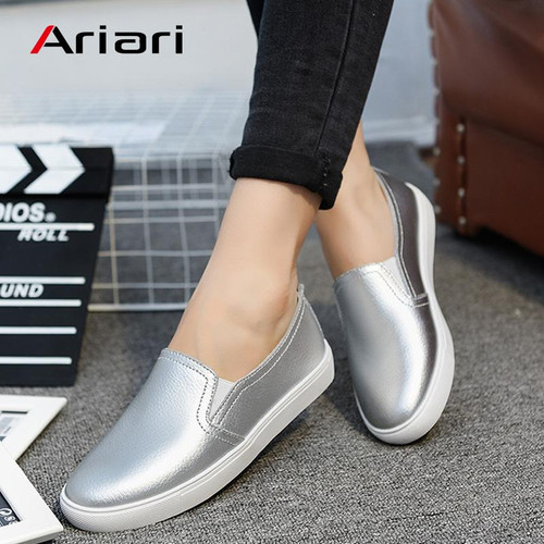 Ariari Spring Flats Women Shoes Shiny Loafers Geniune Leather Casual Slip On Footwear Female Lazy Shoes Fashion Loafers Lady - Joelinks store