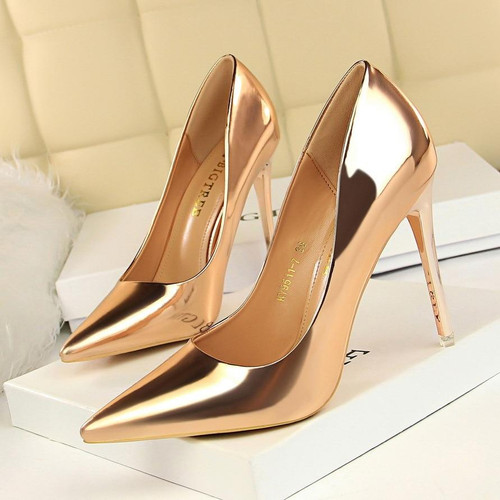Patent Leather Thin Heels Office Women Shoes New Arrival Pumps Fashion High Heels Shoes Women's Pointed Toe Sexy Shoes Shallow - Joelinks store
