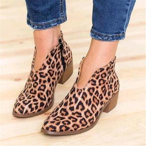 Women Shoes Leopard Print Sexy Pointed Toe Ankle Boots Slip on Deep V  High Heel Lady Party Dress Shoes - Joelinks store