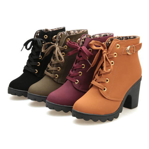 Womens Boots Fashion High Heel Lace Up Ankle Boots Ladies Buckle Platform Shoes Winter Warm Fur PU Leather Boots Sep# - Joelinks store