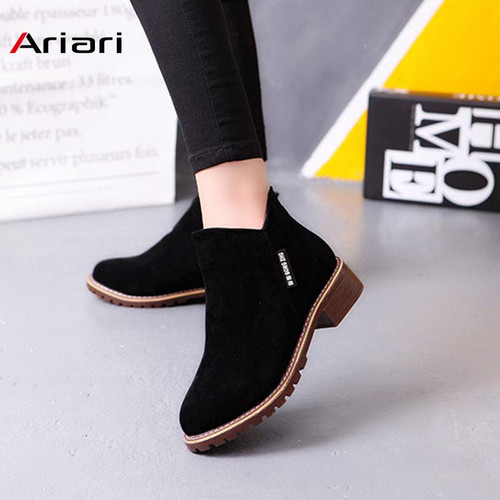 New Classic Women Ankle Boots Winter Female Snow Women Casual shoes Thick Heel Suede Warm Fur Plush Women Shoes Women Booties - Joelinks store