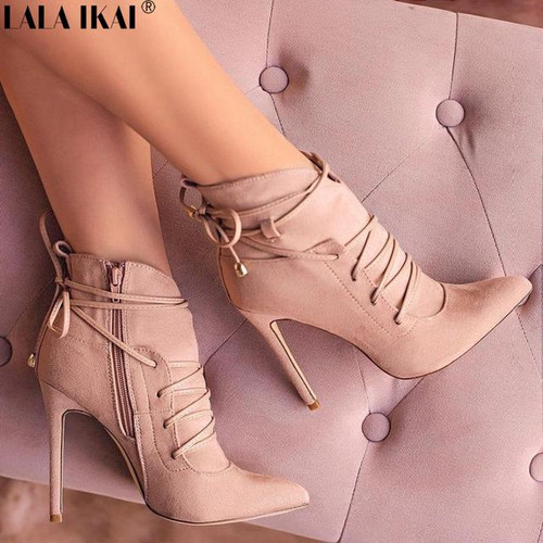 Women Boots High Heels Pointed Toe Cross-Tied Boots Woman Shoes Autumn INS Fashion - Joelinks store