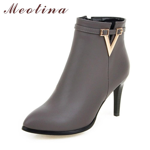 Meotina Women Shoes High Heel Ankle Boots Martin Boots Zip Fall Spring Pointed Toe High Heels Lady Shoes Gray Big Size - Joelinks store