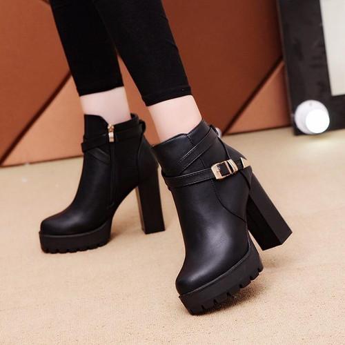 New Women Boot Autumn Winter Short Boots Women High Heel Shoes Martin Boots Women Ankle Boots Black Women Shoes 10cm heel - Joelinks store