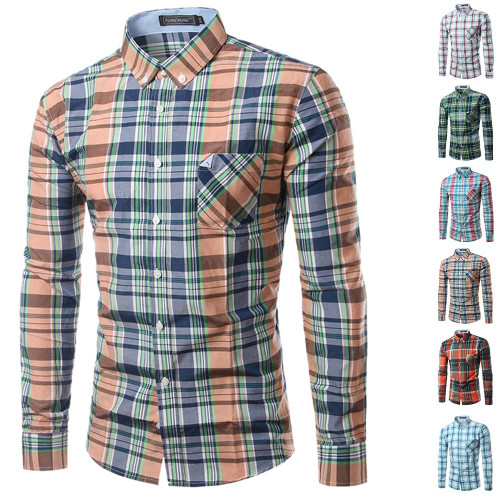 Mens Plaid Pocket Shirt New Design Mens Slim Fit Long Sleeve Dress Shirts Casual Mens Shirt Chemise Homme Camisa Social 4XL - Joelinks store