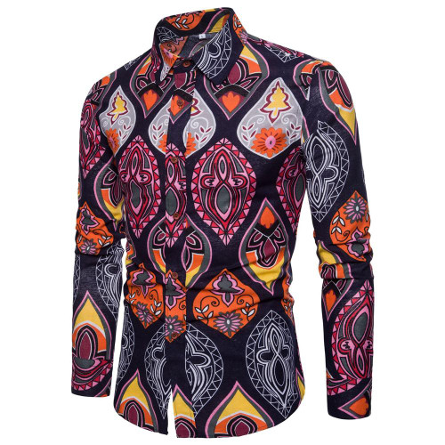 New Spring &Autumn Shirts Fashion Trend Folk Men Ethnic Flowers Printed Casual Hawaiian Long Sleeves Dress Shirts 4XL 5XL - Joelinks store