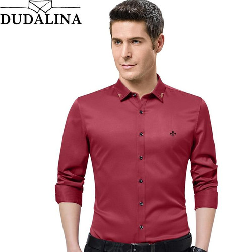 New Men Shirts Male Long Sleeved Solid Color Cotton Slim Fit Men's Social Business High Quality Casual Shirt - Joelinks store