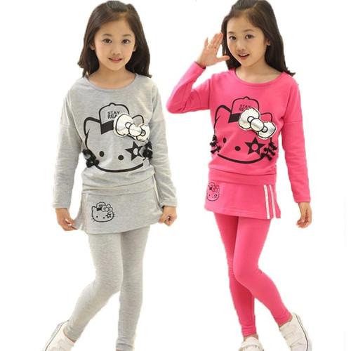 Hello Kitty Girls Clothing set Long Sleeve T Shirt Skirt Leggings Pant Suits Cute Girl Set Baby Kids Girl Christmas Clothing Set - Joelinks store